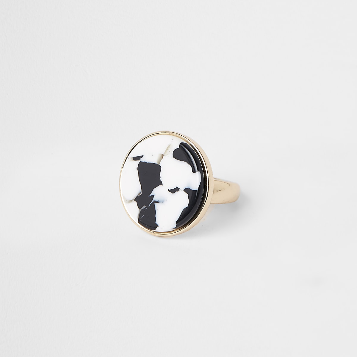 Gold tone cow print ring