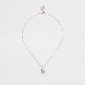 Gold colour diamante paved padlock necklace