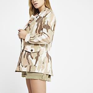 Veste militaire camouflage crème à sequins