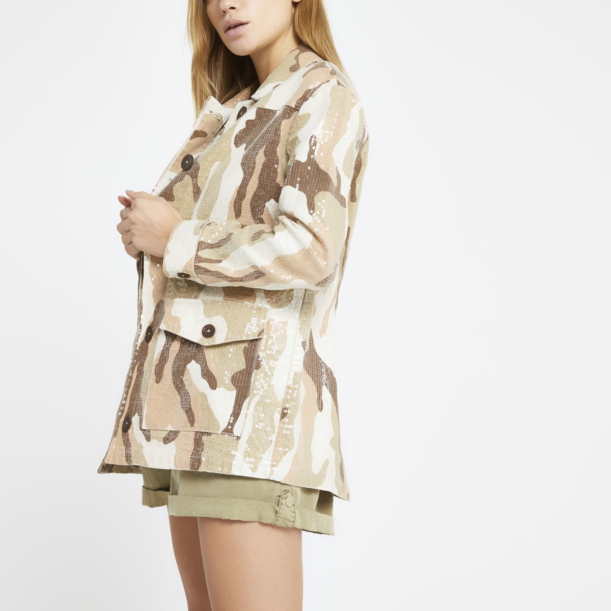 Cream camo sequin army jacket