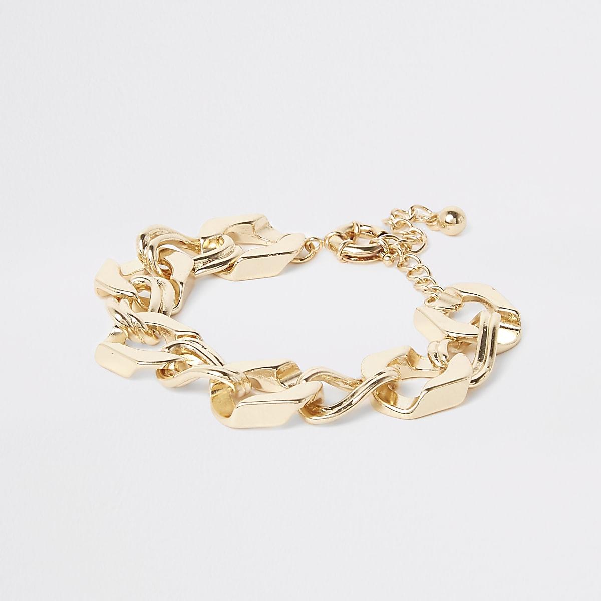 Gold color chunky biker chain bracelet