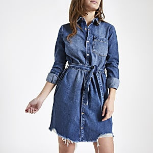 Petite – Robe chemise en denim bleue