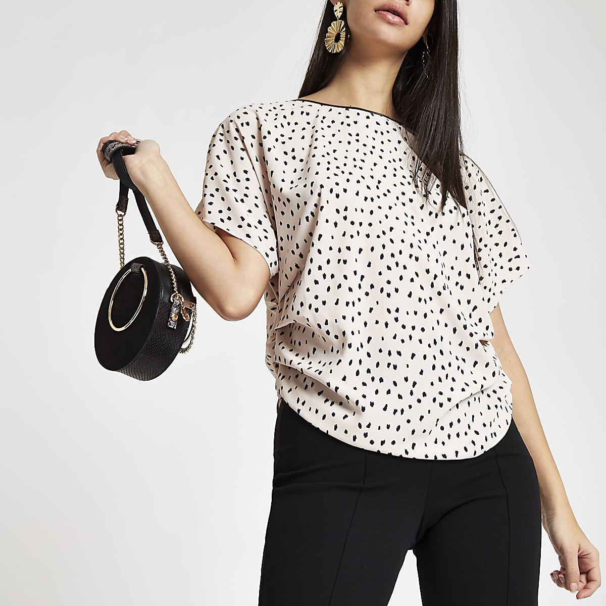 Beige spot print side ruched top