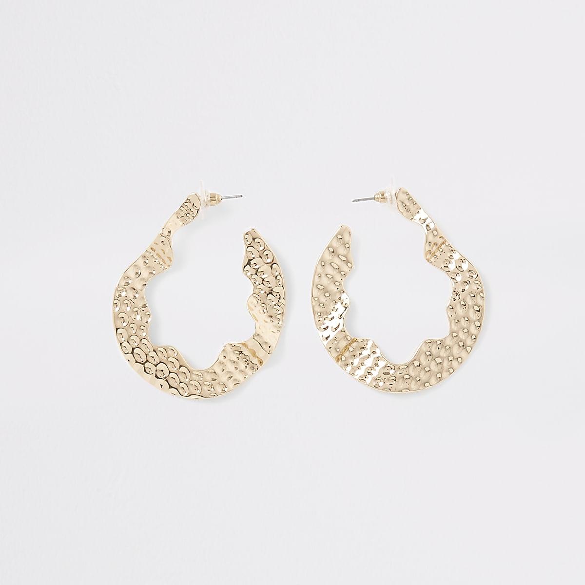 Gold colour  battered hoop earrings