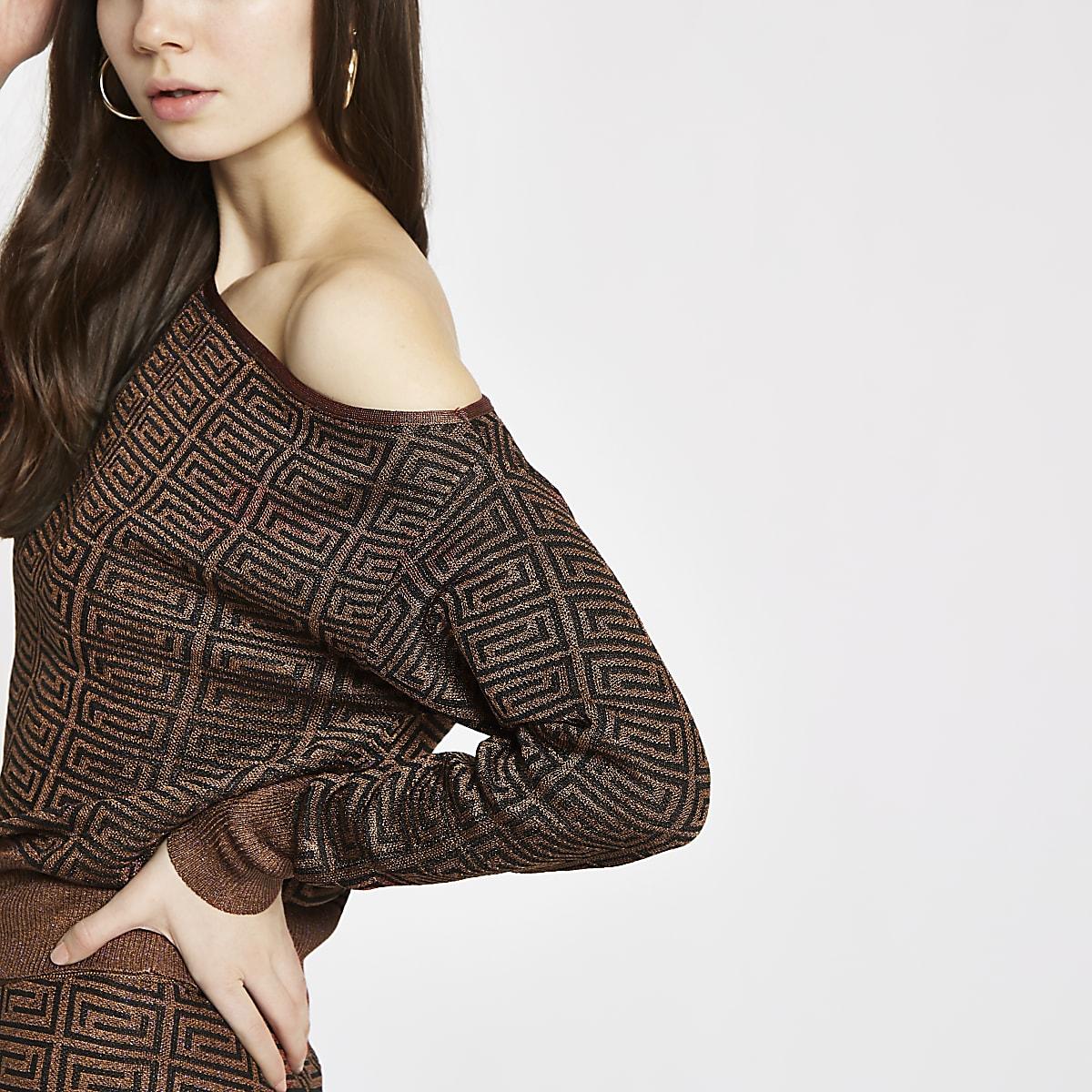 Brown geo print asymmetric sweater