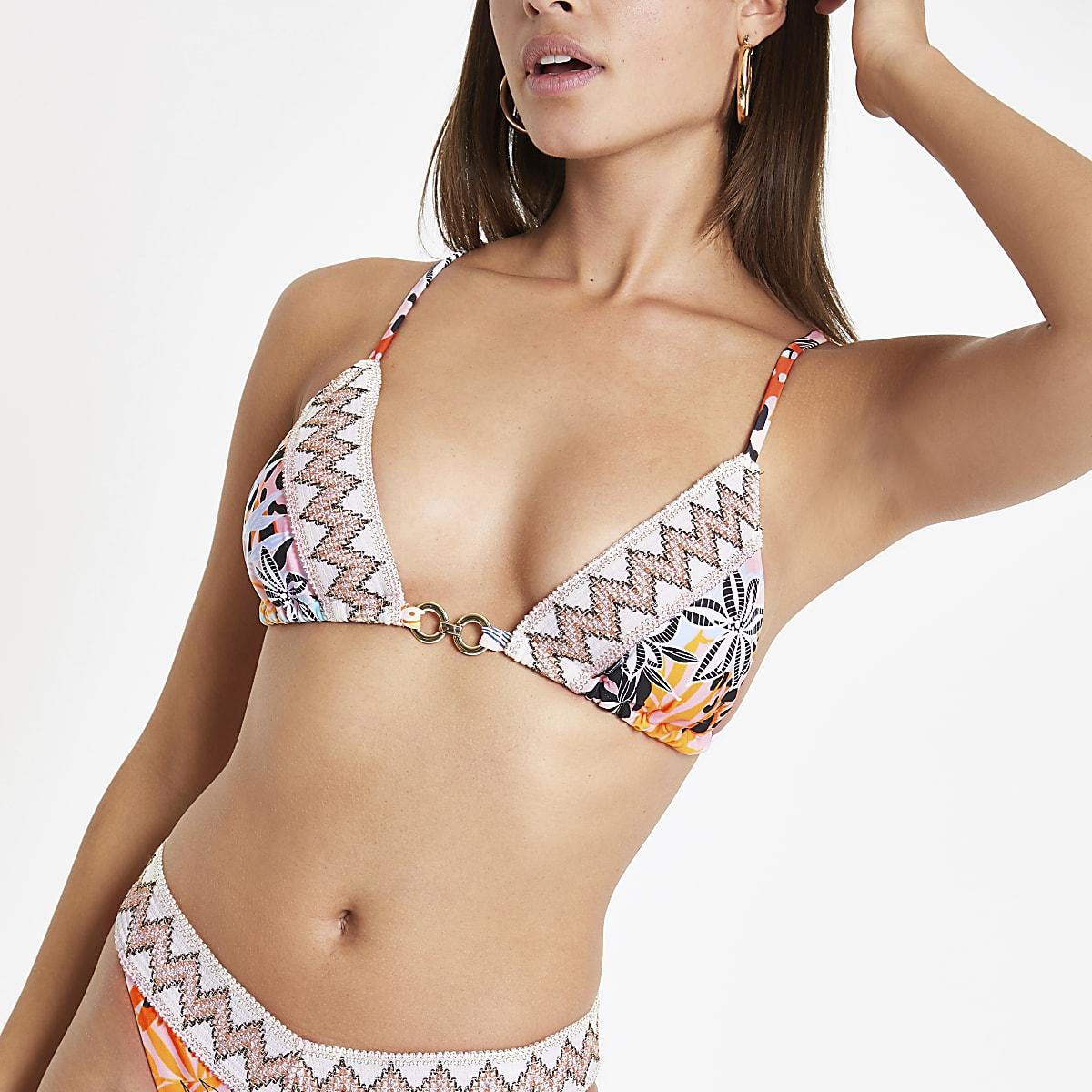 Roze triangel-bikinitop met elastische rand en print