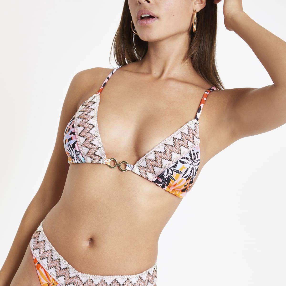 Pink print elastic trim triangle bikini top