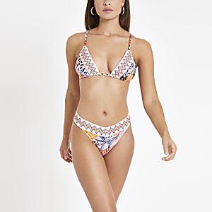 Bedruckte, elastische Bikinihose mit hohem Beinausschnitt in Rosa