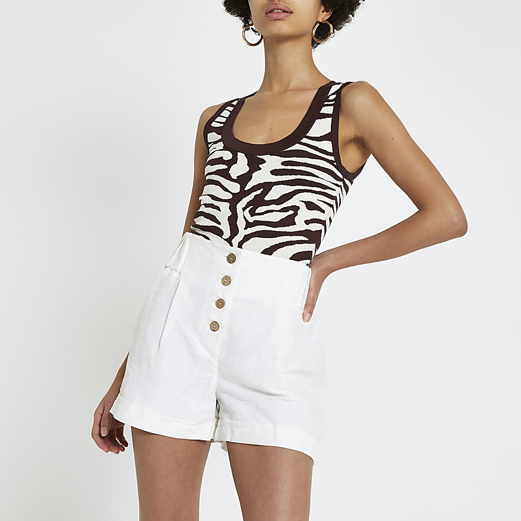 White button front high rise shorts