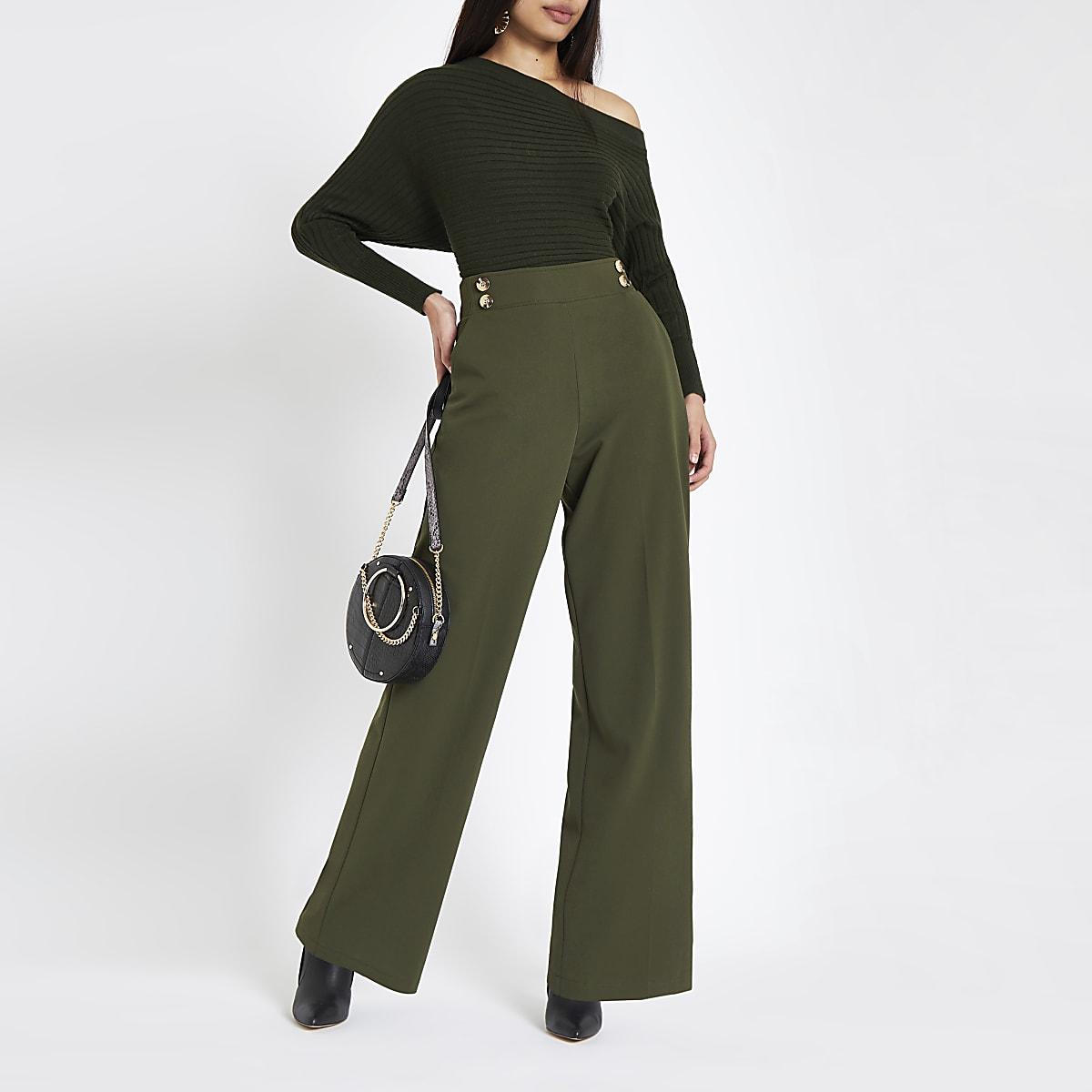 Khaki double button wide leg pull on pants