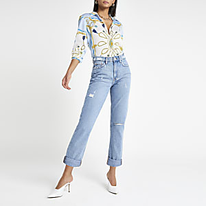 Middenblauwe mom ripped jeans
