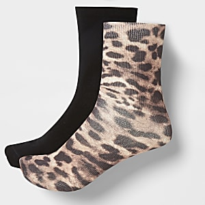 Brown leopard print ankle socks 2 pack