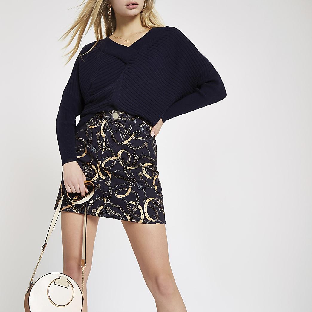 Navy chain print denim mini skirt