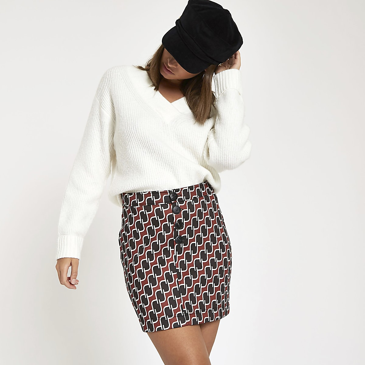 Brown geo print mini skirt