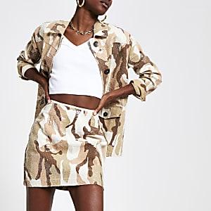 Mini-jupe camouflage beige à sequins