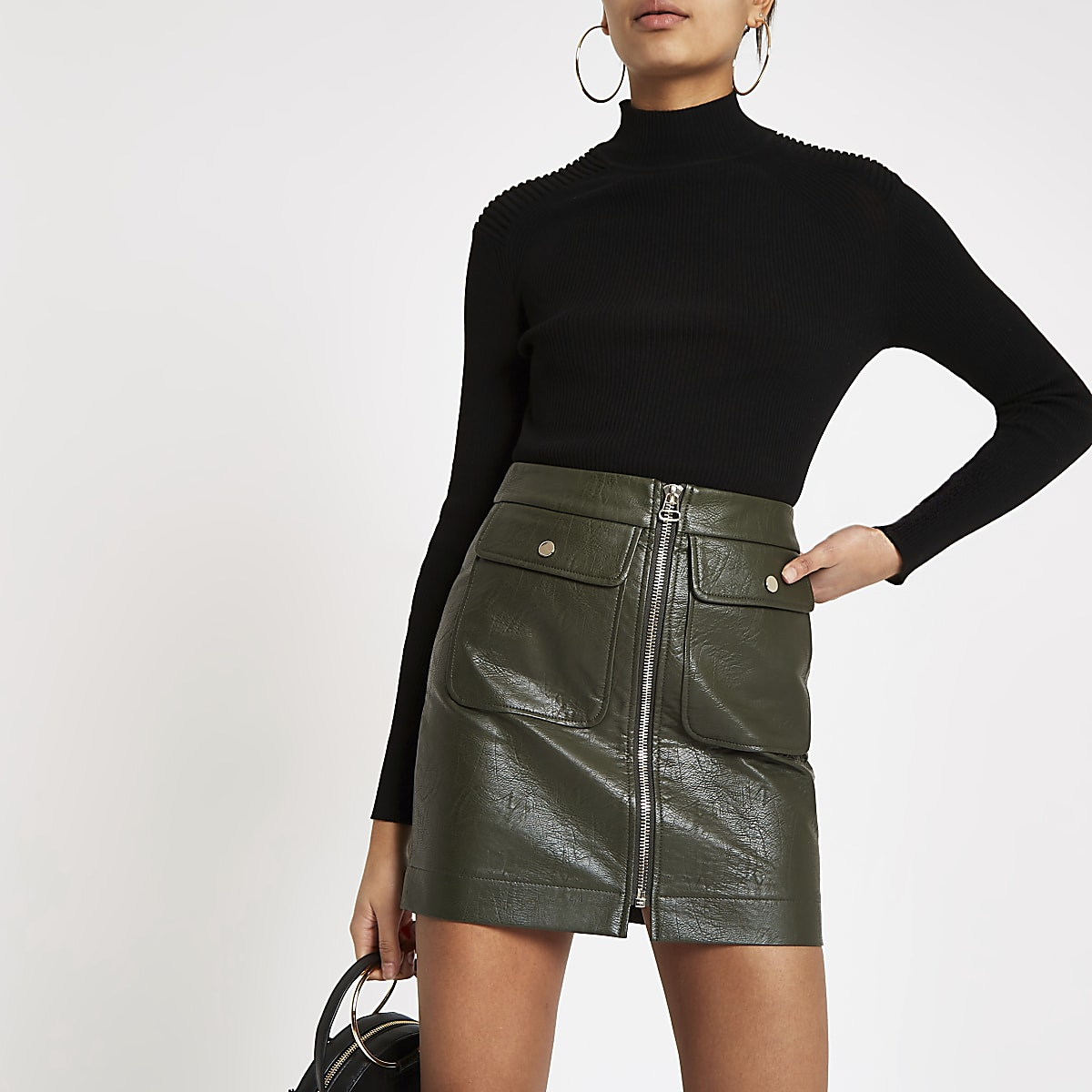 Khaki faux leather zip front mini skirt