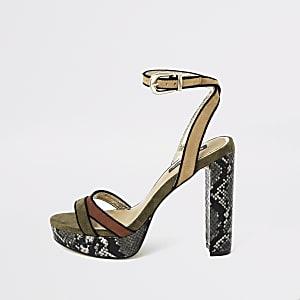 Green snake print platform heels