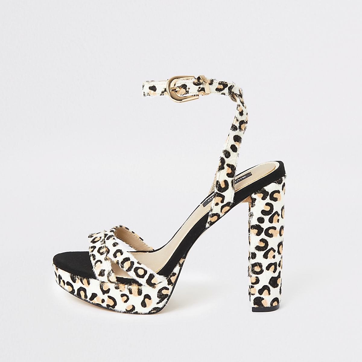 White leopard print platform heels