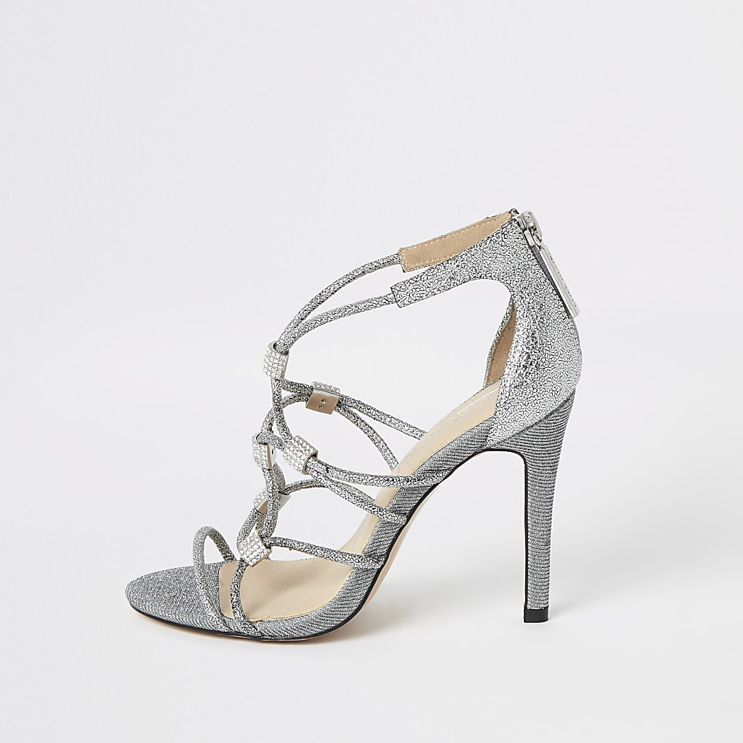 Silver diamante cage heeled sandals