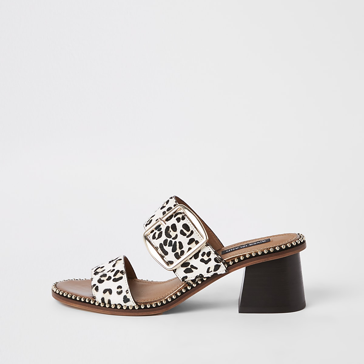 White leather leopard wide fit block mules