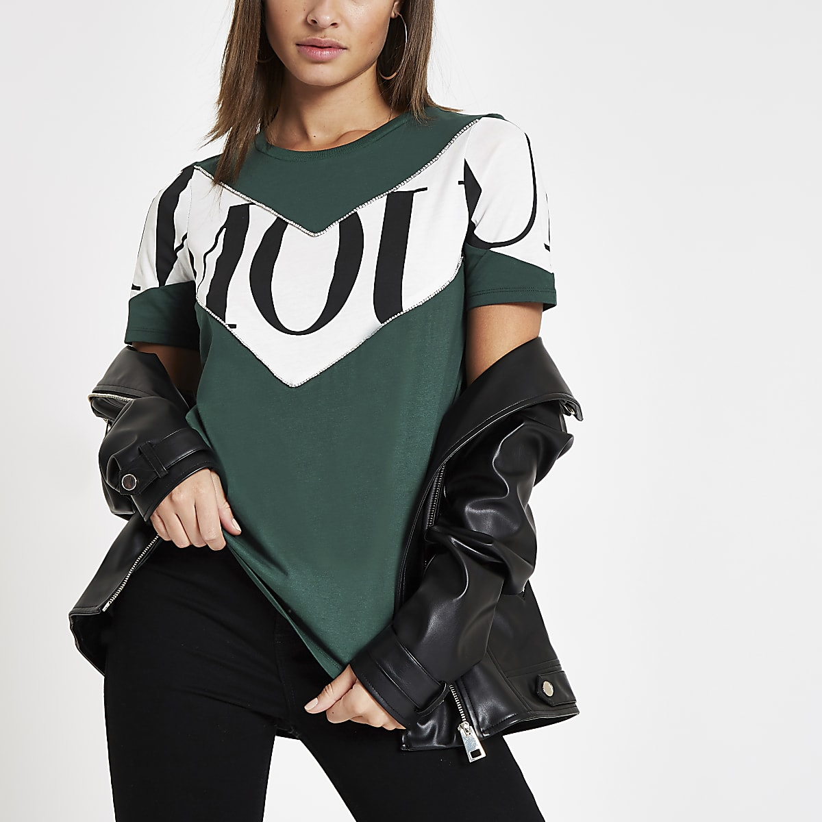 Green 'Amour' color block T-shirt