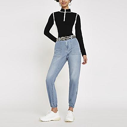 Blue denim jogger jeans
