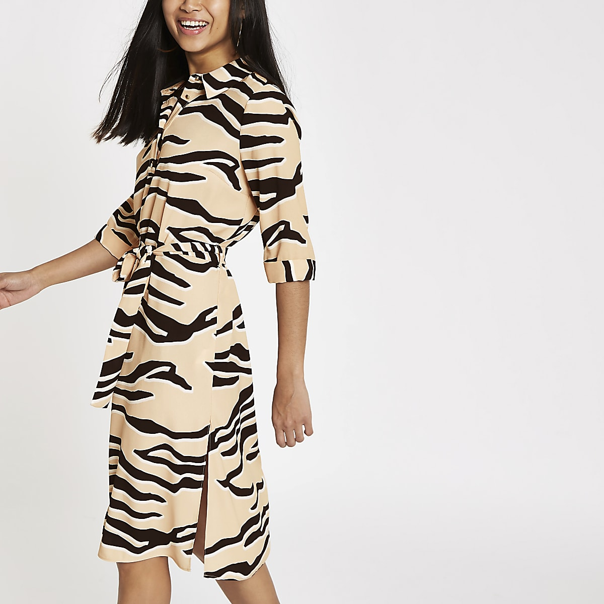 Petite beige tiger print shirt dress