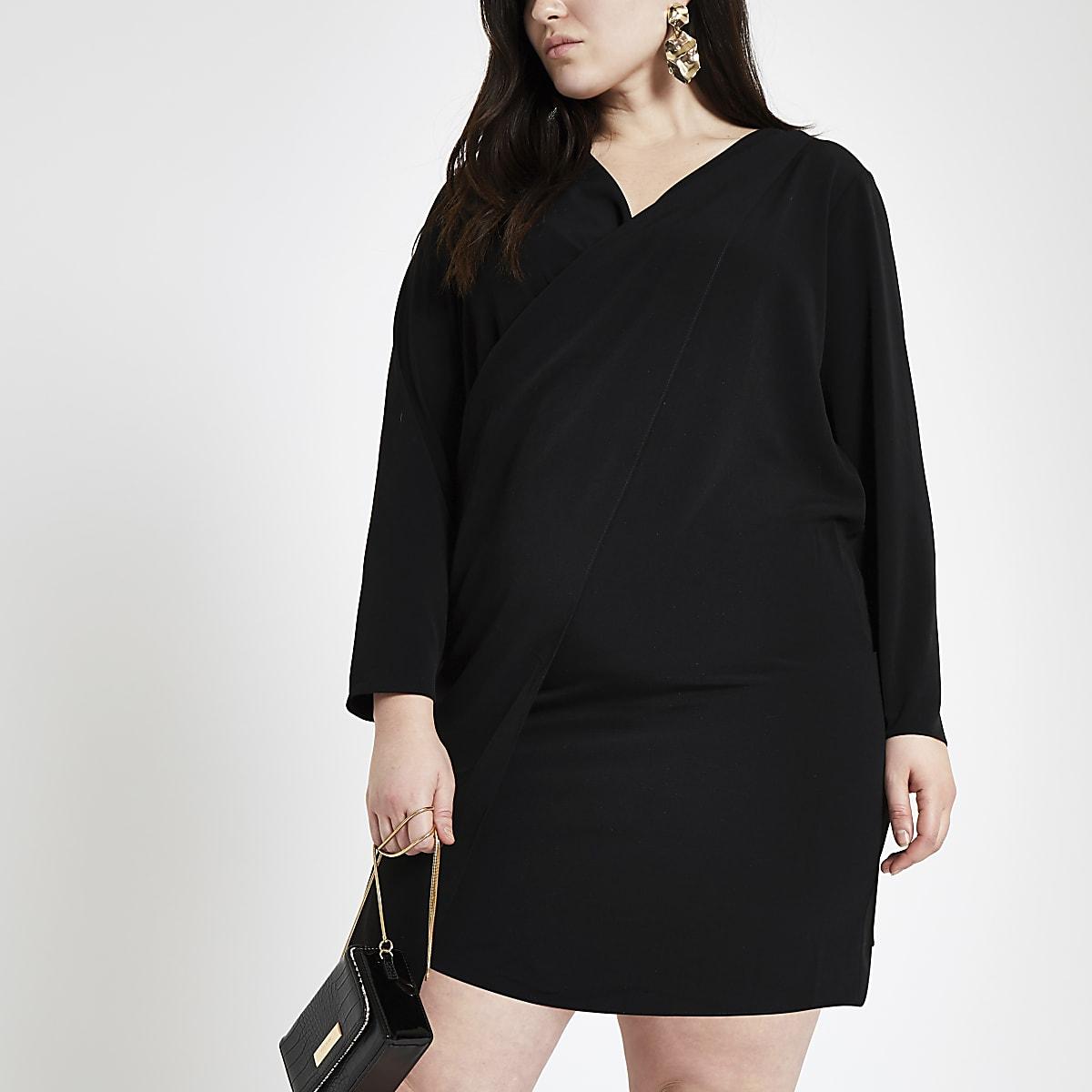 Plus black wrap front dress