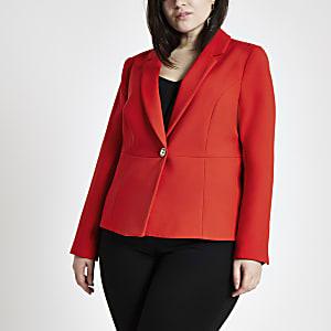 Plus – Roter, langärmeliger Blazer
