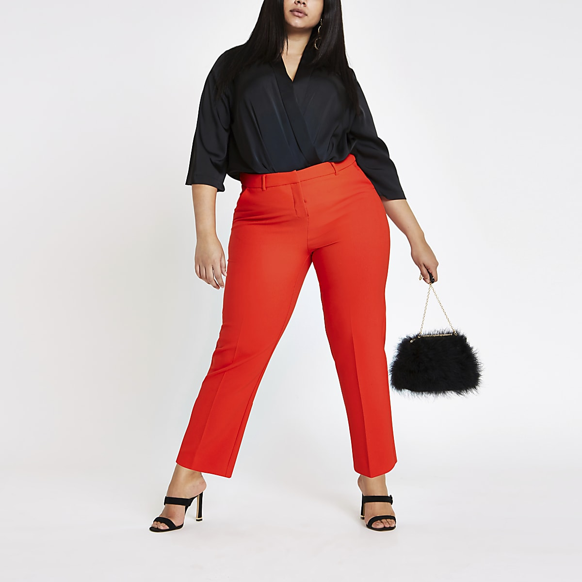 Plus red cigarette trousers