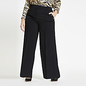 Plus black button wide leg trousers