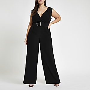 RI Plus - Zwarte jumpsuit met ceintuur en wijde pijpen