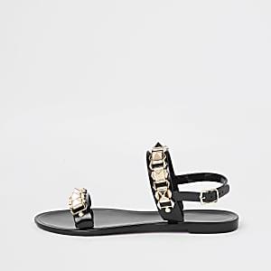 Zwarte jelly sandalen met studs en ketting