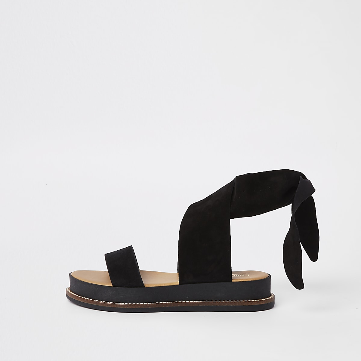 Black suede tie strap sandals
