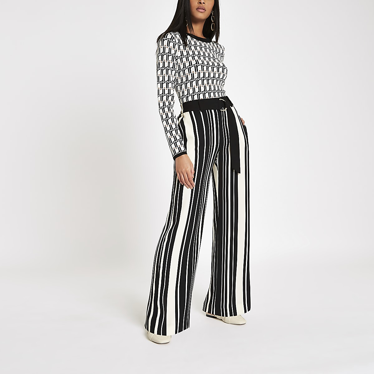 Black stripe D-ring wide leg trousers