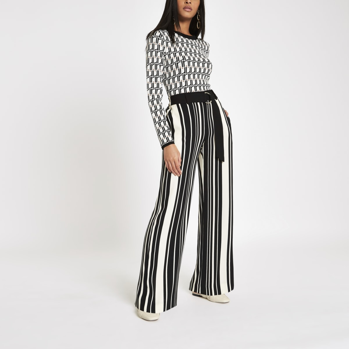 Black stripe D-ring wide leg pants