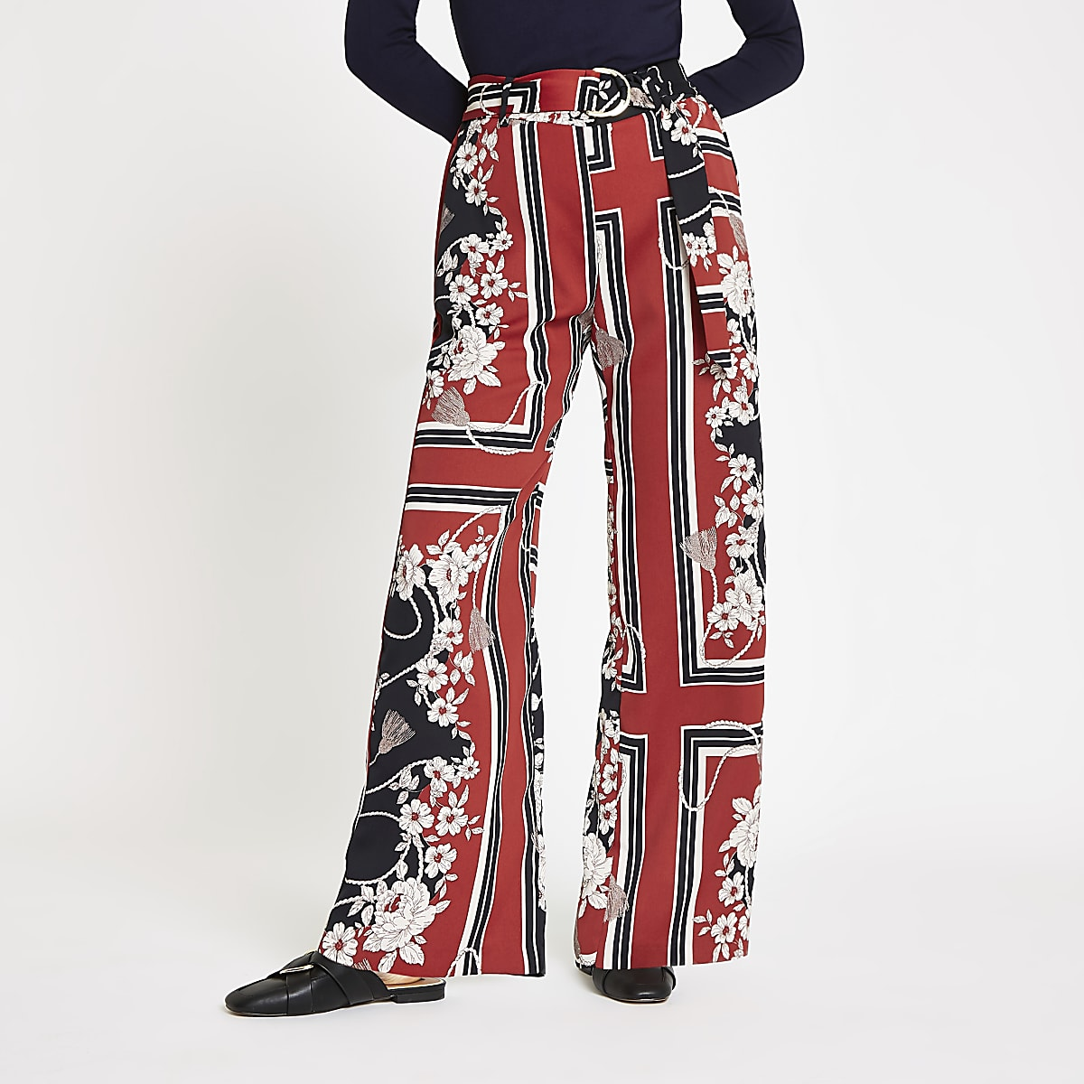 Red floral D-ring belted wide leg pants