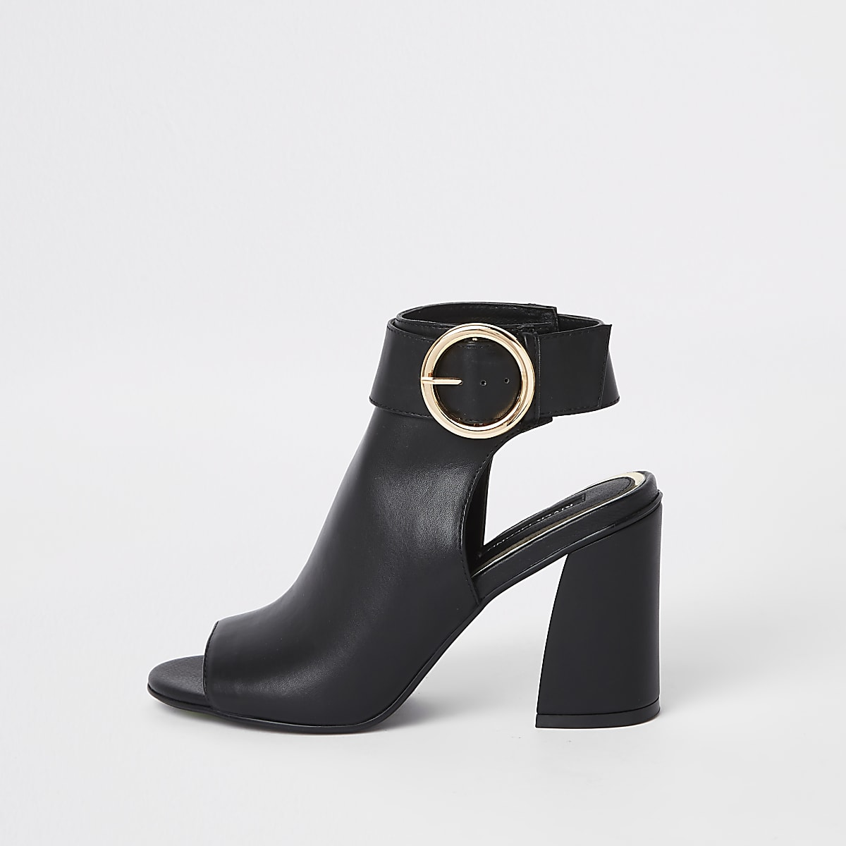Black buckle strap ankle shoe boots