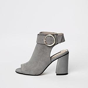 Graue Shoe Boots mit Schnalle