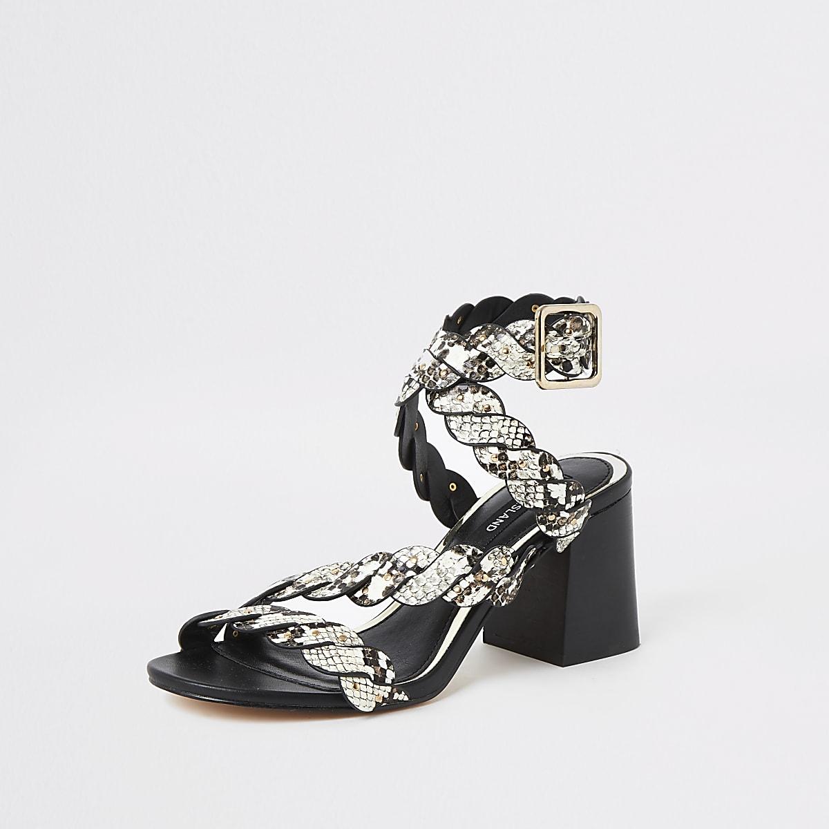 201a19f04b2 Grey snake print studded block heel sandals - Sandals - Shoes ...