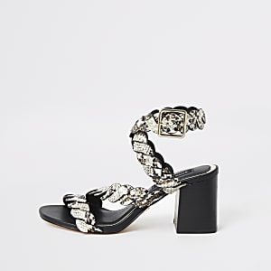 Grey snake print studded block heel sandals