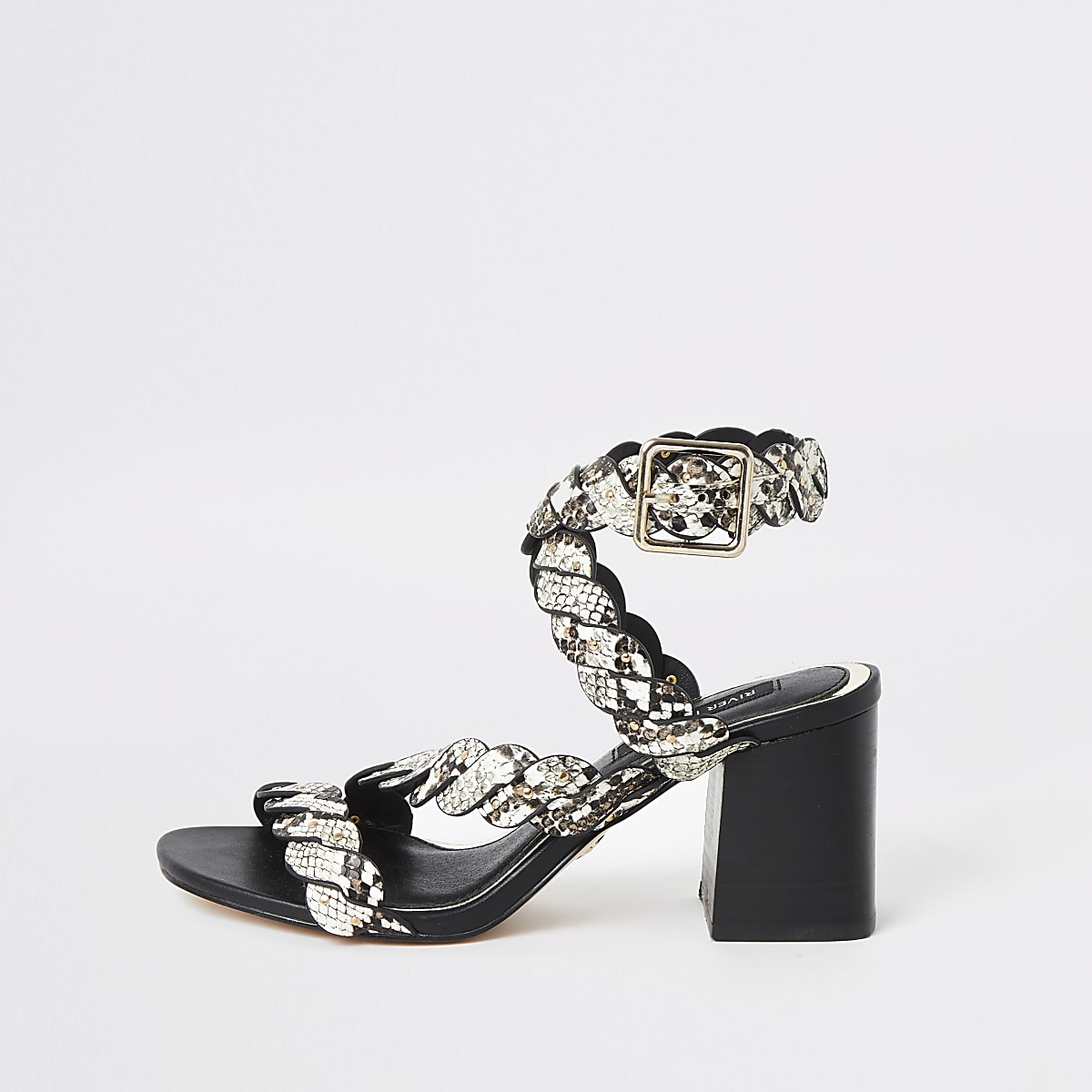 Grey snake print studded block heel sandals