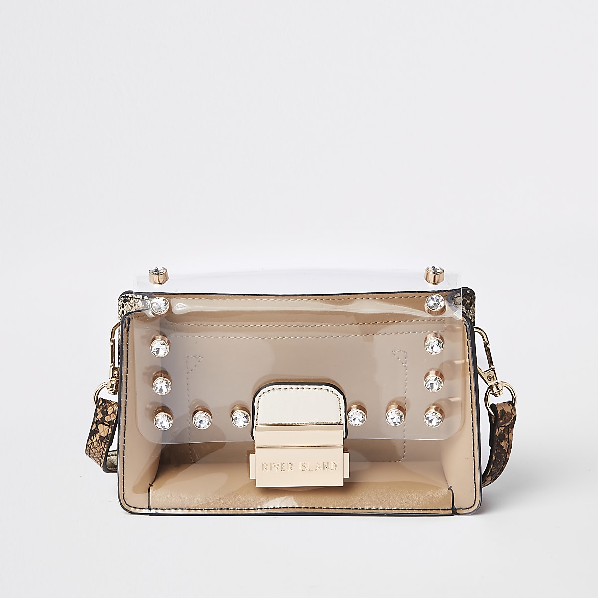 Beige snake print perspex cross body bag