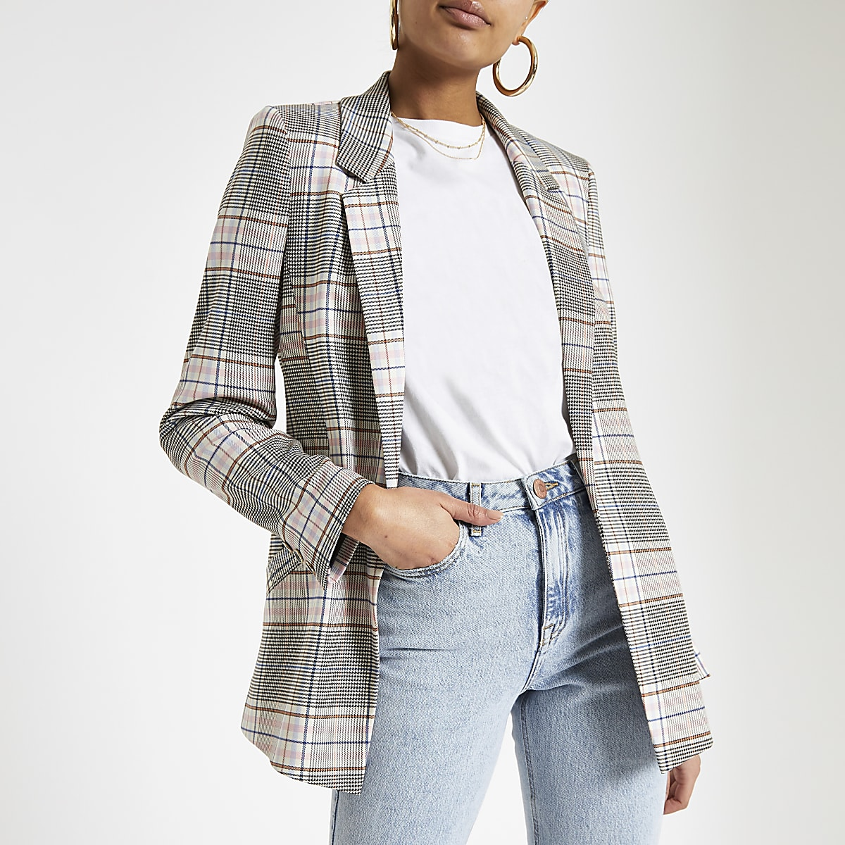 Pink check open front blazer