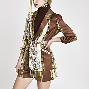 Brown mixed print belted ruched blazer