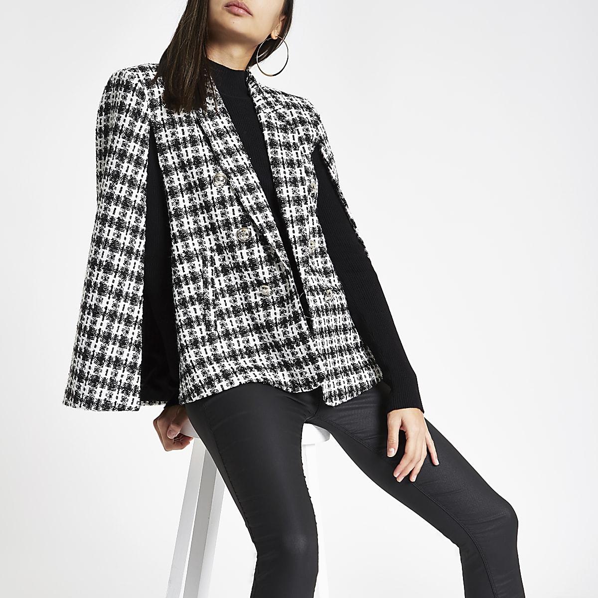 Black check boucle cape jacket