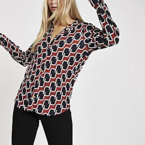 Brown geo print loose fit shirt