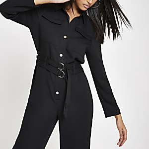 Black belted boiler jumpsuit