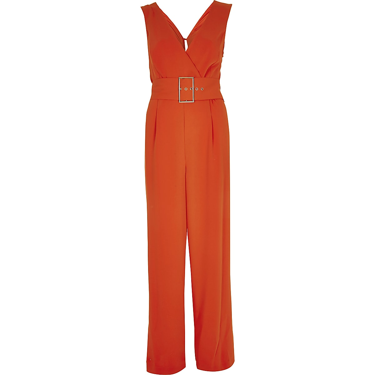 the latest d00bc 792db Red belted wide leg jumpsuit