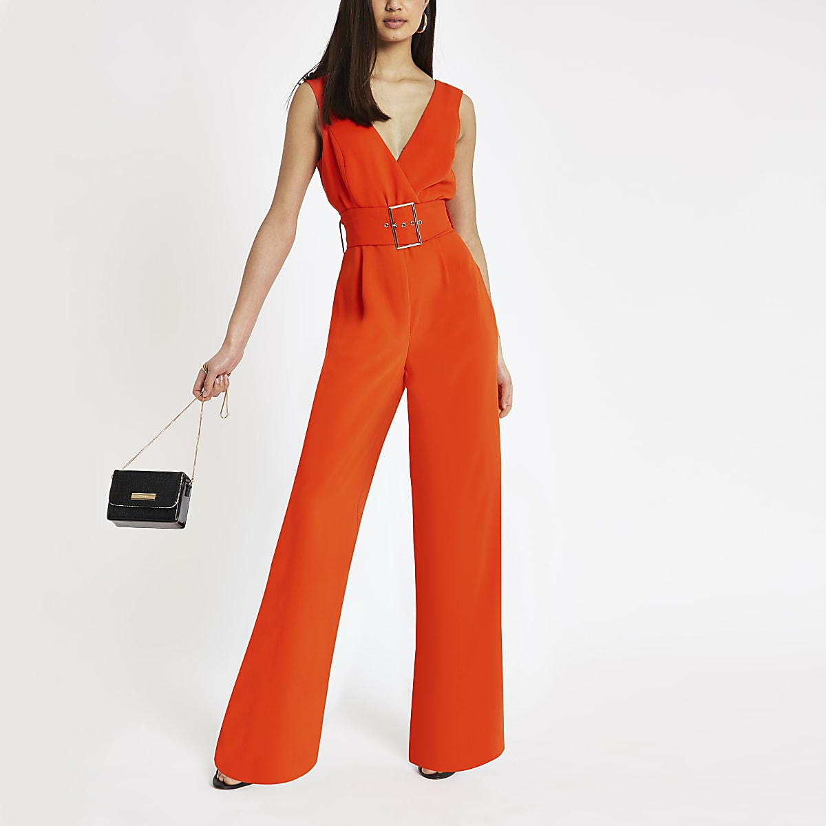 Red belted wide leg jumpsuit